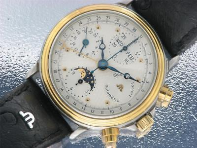Maurice Lacroix Mens Steel & Gold Automatic Watch Vintage Collectable Moonphase