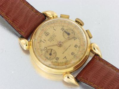 Pontiac Support Choc Antimagnetic 18K Yellow Gold Mens Chronograph Vintage Watch