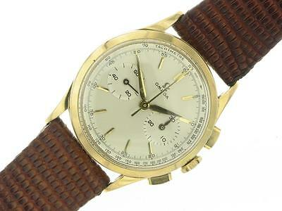 Omega Chronograph Vintage Mens Watch 18K Pink Gold from 50's Rare Collectable