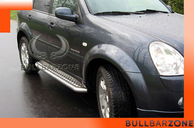 Ssangyong Rexton 2006-2012 Marche-Pieds Inox Plat / Protections Laterales