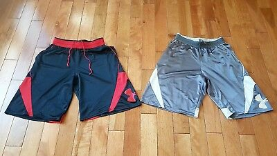 36be2158e Under Armour Lot Of Two Black & Red, Gray & White Basketball Shorts Men's  Size