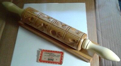 Vintage Nayco Springerle Wooden Rolling Pin with base and tag.
