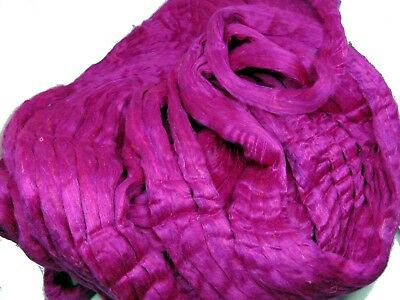 Recycled Carded Sari Silk Fibres - Tourmaline 50g Spinning Felting Carding