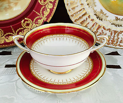 Vintage Paragon England Bone China 'athene' Burgundy & Gold Soup Bowl & Plate