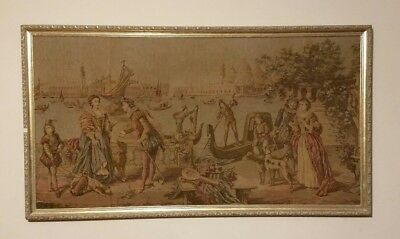 Large Antique Victorian Needlepoint Tapestry Depicting Renaissance Scene