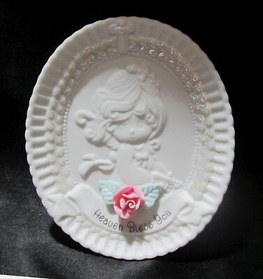 Precious Moments Heaven Bless You Baptism Day Oval Plate Stand 159271 1995