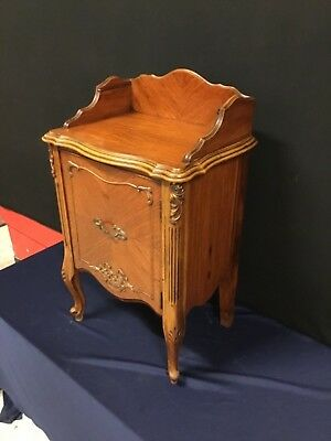 Unique French 1-Drawer Nightstand, Satin Wood with Carving