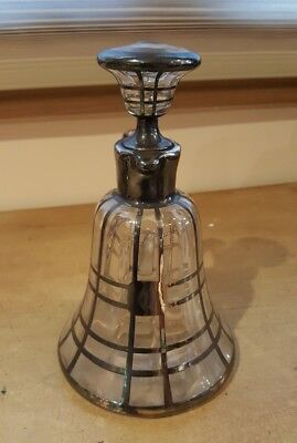 Old Vtg. Sterling Silver Overlay  Liquor Bottle Jug Decanter /flask- Glass