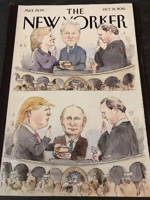 Donald Trump The New Yorker Magazine Oct 31 2016 No Label Hillary Clinton Putin