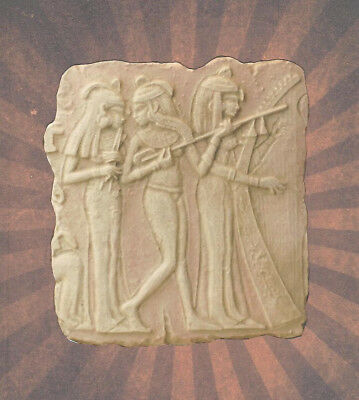 Egyptian Female Musicians Wall Plaque Bas Relief Fragment 9436