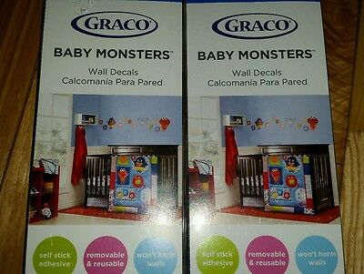 Graco Baby Monsters Wall Decals, 2 Boxes of 4 Sheets Each