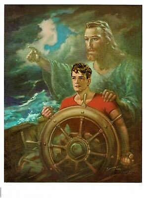 CHRIST OUR PILOT, W. Sallman: JESUS & boy on a boat in a storm, 8X10 print, 1950