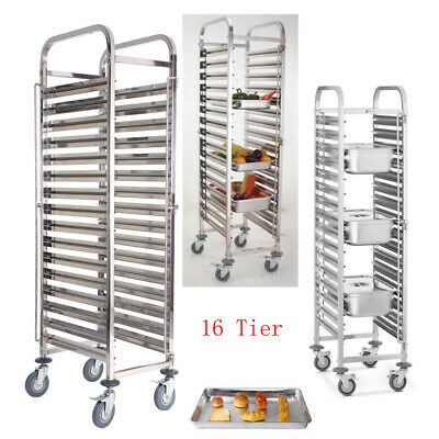 16 Tier Stainless Steel Gastronorm Bakery Baking Trolley Pan Cart Bread Stand