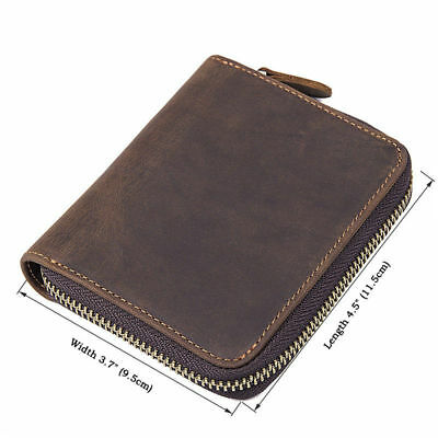 J.M.D Men's Leather Zip Around Wallet ID Card Window Secure Zipper Bifold Purse