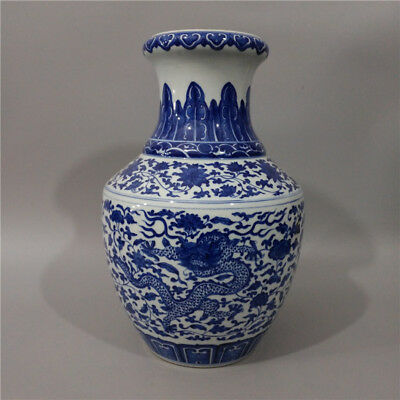 Great Chinese Antique Blue&White Porcelain Dragon Vase