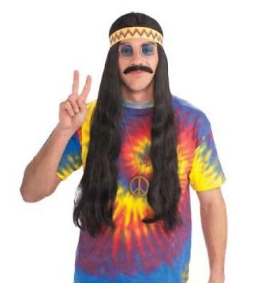 Woodstock Costume Wig With Headband Black