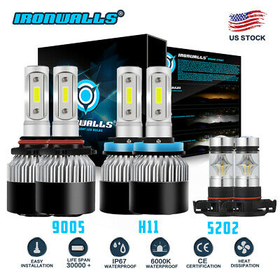 H11 9005 LED Headlight 5202 Fog Light for Chevy Silverado 2500 3500 HD 2007-2018