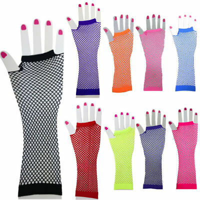Fishnet Gloves Fingerless 70s 80s Neon Fluorescent Women's Costume Party Dance