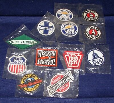 Lot of 12 Cereal Premium(?) Individually Bagged Railroad Patches, 10 Different!