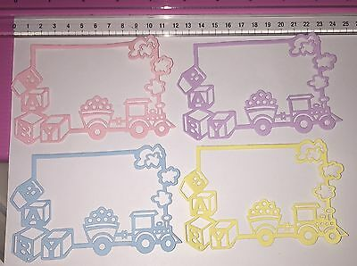Die Cuts! 4 Pc 'Baby Train Blocks Frame' Boy Girl Neutral Coloured Cardstock