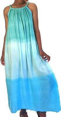 Wholesale Lot 4 Bali Women's Blue and Teal Tie Dye Ombre Summer Maxi Dresses