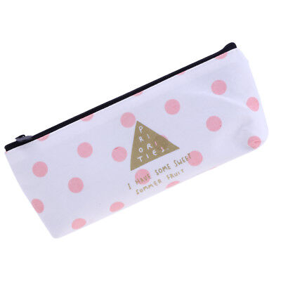 Fashion Zipper Pencil Pen Case Bag Canvas Makeup Cosmetic Bag Pouch Dot