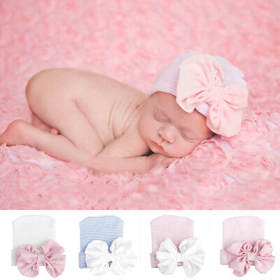 Baby Girls Infant Colorful Striped-Cap Hospital Newborn Soft Beanie Hat with Bow