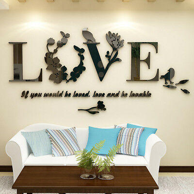 3D Art Mirror Love Flower Wall Sticker Quote Flower Acrylic Decal Home DIY LOVE