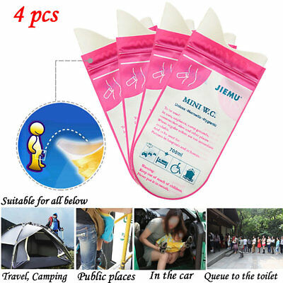 4Pack 700ml Portable Disposable Pee Urine Bag Travel Emergency Toilet WC Travel