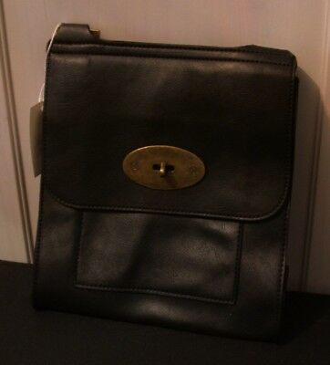 Ladies Small Size Handbag In Black With Brass Clasp  And Long Strap