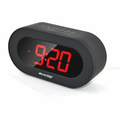 Reacher Digital LED Alarm Clock with USB Port Phone Charger, Snooze, Big Red ,