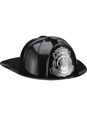 Deluxe Black Adult Fire Fighter Costume Hard Hat Helmet With Silver Badge