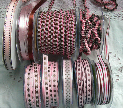 PINK & BROWN Polyester 10-13mm Wide - 2, 3 & 5 Metres - 9 Design Style Choice