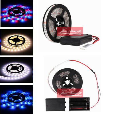 Battery Powered LED Strip Light 3528 SMD Tape with Battery Box white RGB 0.5M-2M