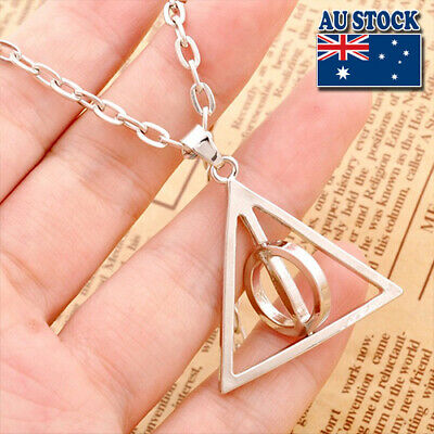 Harry Potter Rotatable Deathly Hallows Pendant Chain Necklace