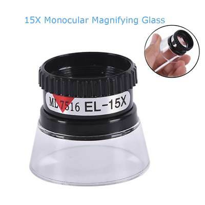Portable Magnifier 15X Monocular Magnifying Microscope Glass  Jeweler Loupe Lens