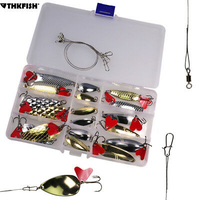 21pcs/box Fishing Lures Metal Spoons Spinner Hard Baits Tackle for Trout Bass