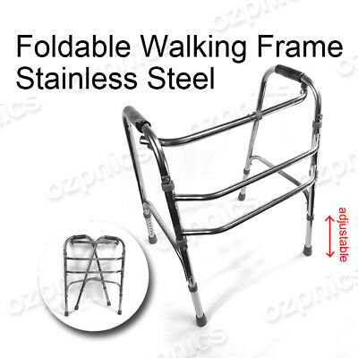 STAINLESS STEEL WALKING FRAME Adjustable Height, Lightweight & Foldable Walker