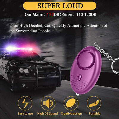 130dB Personal Alarm Loud Sound Emergency Safety Security Self-Defensing Light