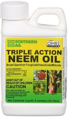Southern Ag 8 Oz Triple-Action Neem Oil Organic Fungicide Insecticide Miticide