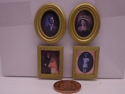 1:12 Scale 4 Pictures Prints In Frames Dolls House Miniature Painting Accessory