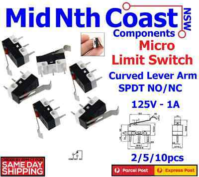 2/5/10pcs End Stop Lever Micro Limit Switch NO/NC SPDT AC 125V 1A Momentary