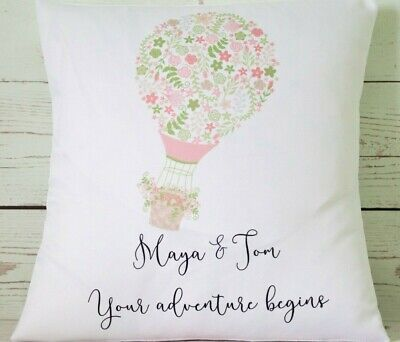 """Personalised Wedding hot air balloon - 16"""" cushion cover shabby vintage chic"""