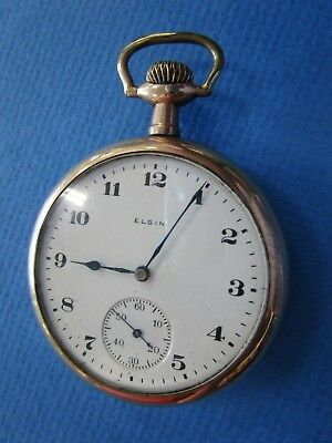 ELGIN  USA  Open Face Gold Fill Mens Pocket Watch. AS IS Condition