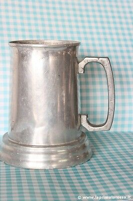 Mug Period in Tin with Base Glass H cm 13,7 - Pen Vintage