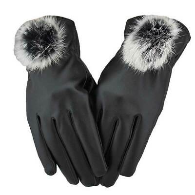 Women Lady Touch Screen Driving Gloves Winter Thermal PU Leather Mittens Black