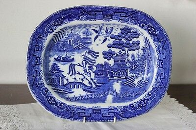 Flat D'period In Ceramic White And Blue Decoration Willow / Old Tray