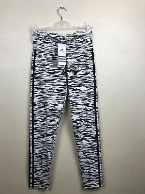 NWT Adidas Performance Skinny Yoga Work Out Athletic Pants Black White Sample S