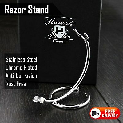 STAINLESS STEEL SHAVING RAZOR STAND SUITS ALL Cartridge, Safety, Straight Razors