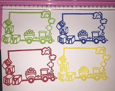 Die Cuts! 4 Pc 'Baby Train Blocks Frame' Boy Girl Bright Coloured Cardstock